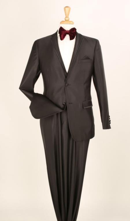 Mens Shiny Black Suit