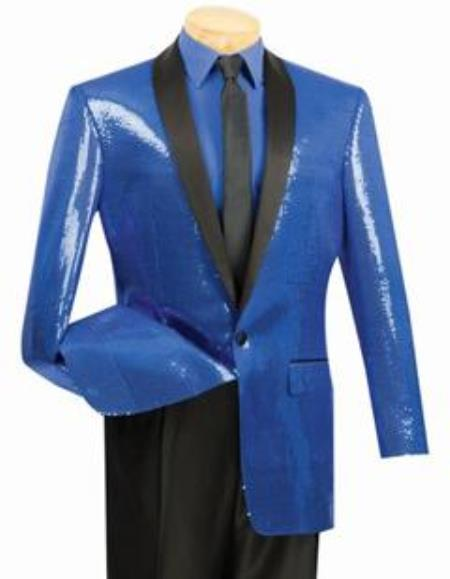 1960s Mens Suits | 70s Mens Disco Suits Shiny Sharkskin Metallic Sapphire Blue Sequin Formal Sportcoat Jacket $140.00 AT vintagedancer.com