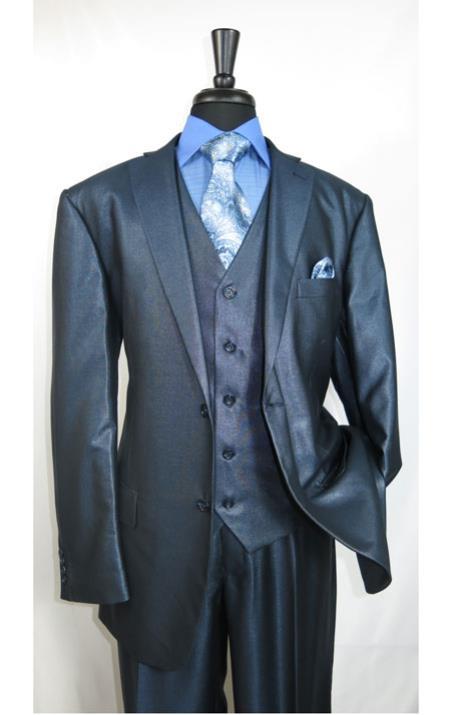 Mens Shiny Blue Suit