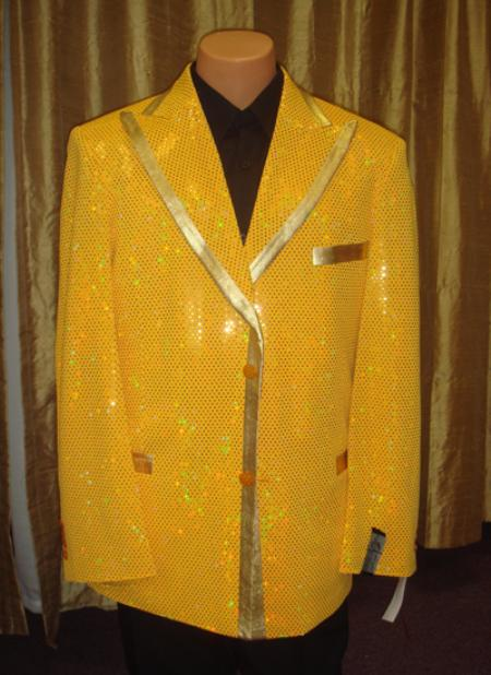 1960s Mens Suits | 70s Mens Disco Suits Satin Shiny Sequin JacketSportcoat Jacket in Gold $190.00 AT vintagedancer.com
