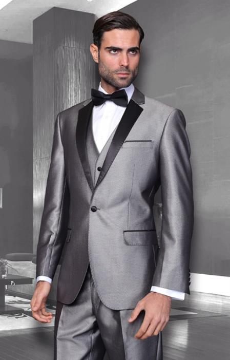 Bright Silver Grey with Dark color black Trimmed Collared Tu