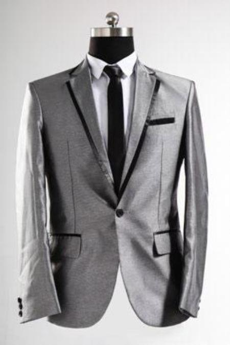 Shiny Silver Grey with Dark color black Trim Sharkskin Suit