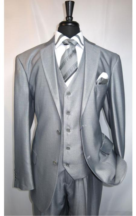 Mens Shiny Grey Suit