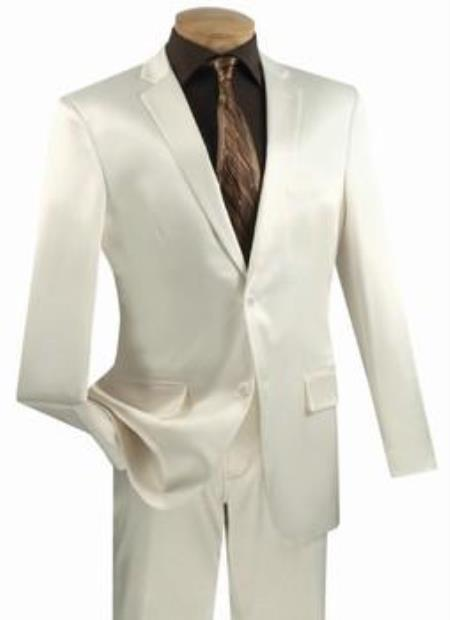Mens Shiny Off White Suits