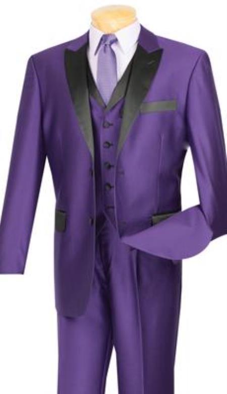 Mens Shiny Purple Tuxedo