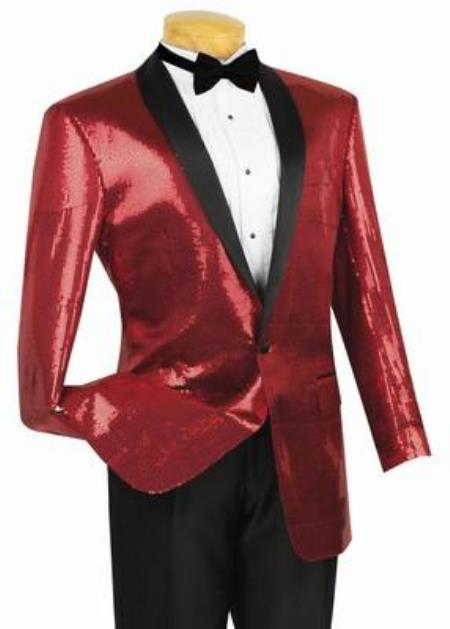 Men's Vintage Style Suits, Classic Suits Shiny Sharkskin Metallic Scarlet red pastel color Sequin Formal Sportcoat Jacket $140.00 AT vintagedancer.com