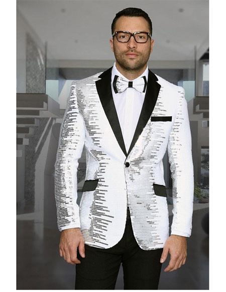 a11348a8f2c59 ID#VI20113 Shiny Sequin Glitter 1 Button Notch Lapel White Best Cheap  Blazer ~ Suit Jacket For Affordable Cheap Priced Unique Fancy For Men  Available ...