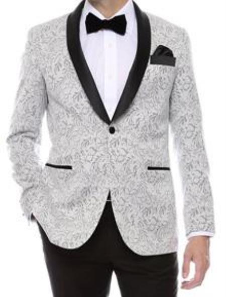 Mens Shiny Silver Tuxedo
