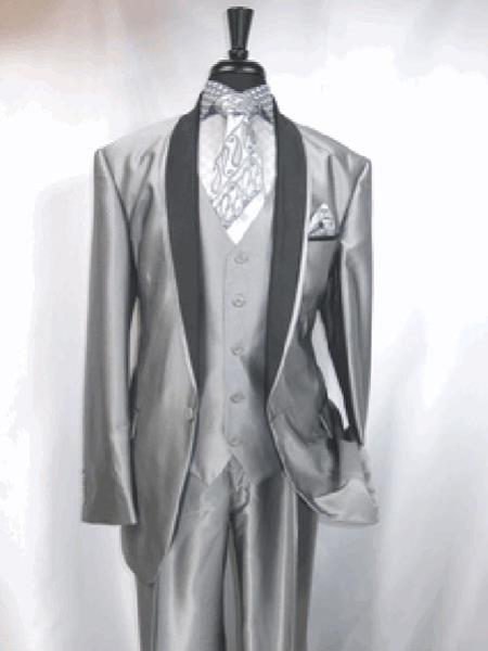 Two Toned Prom ~ Wedding Groomsmen Black and Silver Suit Trimmed Jacket Grey Tuxedo