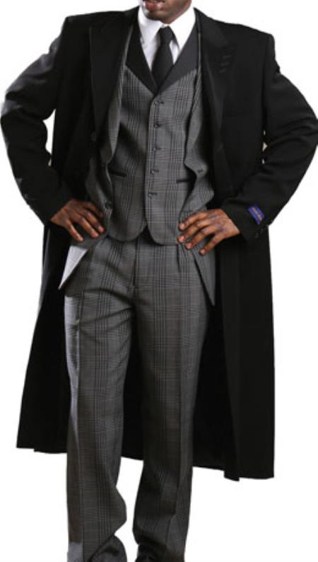 Men's Vintage Style Coats and Jackets Tony Blake Classic Full Length Single Breasted Fashion Top Coat Dark color black $200.00 AT vintagedancer.com