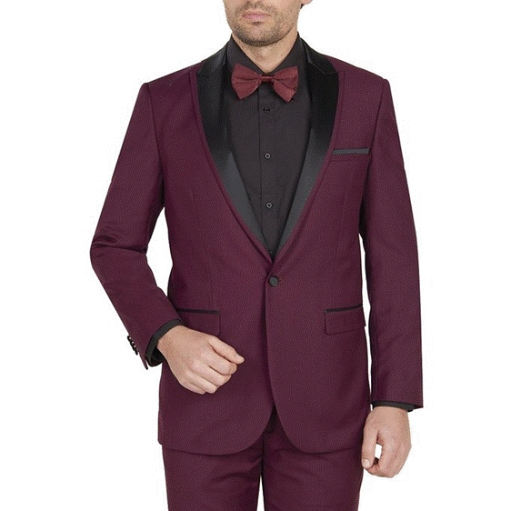 Single Buttons Wedding Burgundy Prom ~ Wine Tuxedo Peak Collared Suit Dinner Jacket Dark color black Collared  ~ Burgundy Tuxedo