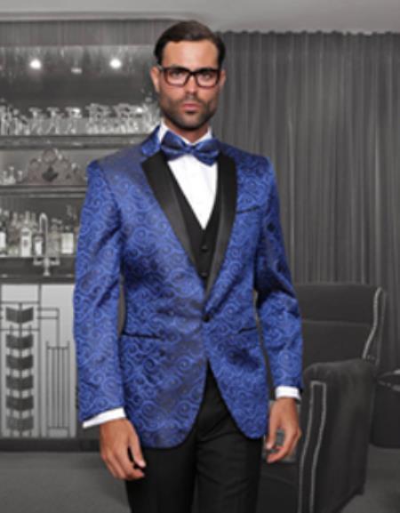 Blue Suit Jacket Black Pants Dress Yy