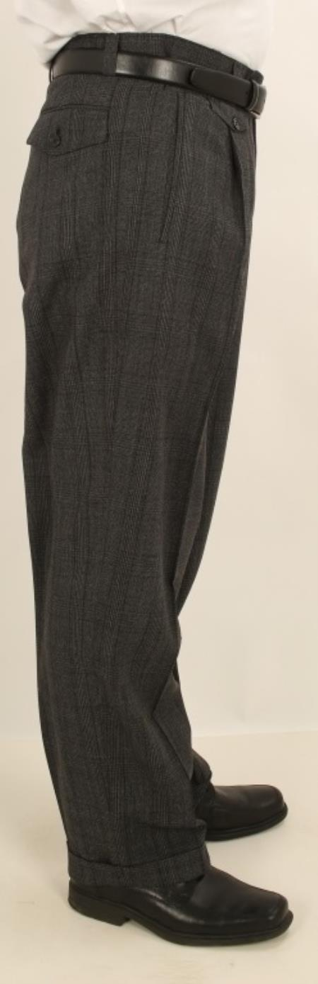 Wide Leg Single Pleated creased Pants Charcoal Masculine color W/Dark color black Windowpane