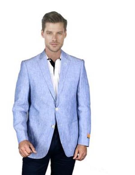 Mens Sky Blue Linen Sportcoat