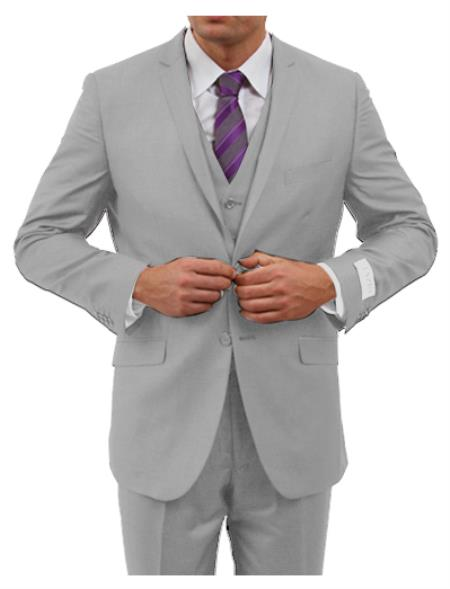 Tapered Leg Lower rise Pants & Two Button Inexpensive ~ Cheap ~ Discounted Clearance Sale Prom Three Piece Notch Collared Euro Tapered pants Silver Grey (ASH) Very Light Color Cheap Priced Fitted Tapered cut - Extra Slim Fit Suit