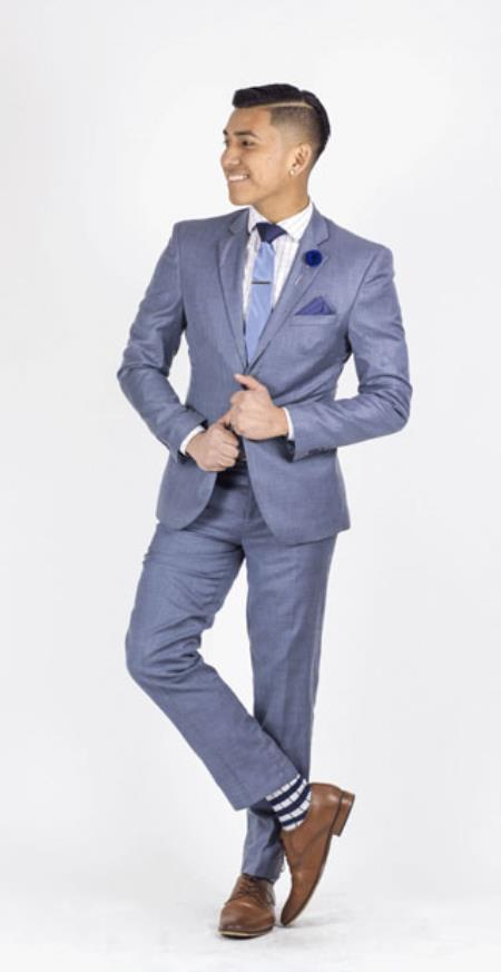 Notch Collared Inexpensive ~ Cheap ~ Discounted Clearance Sale Prom Extra Slim Fit Suit Shiny Light Blue
