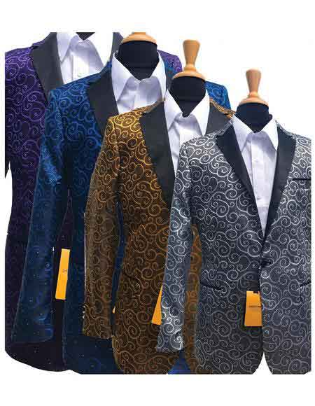 Men's Vintage Style Suits, Classic Suits Fashionable Paisley Tuxedo GoldSilverRoyalPurple Sparkling Sequin Pattern Blazer $197.00 AT vintagedancer.com