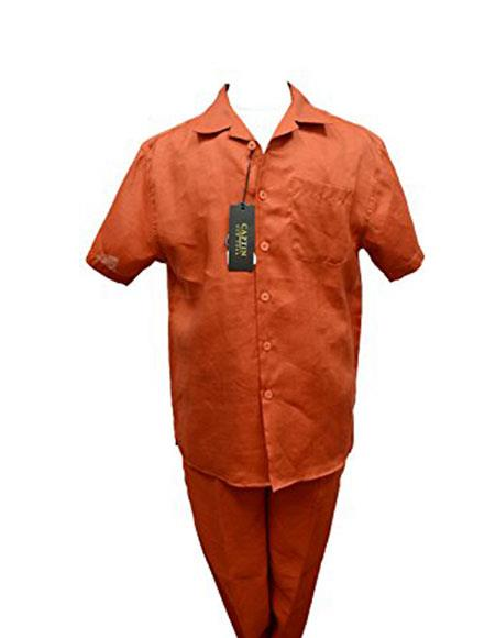 ID#VJ16512 Rust Burnt Orange Summer Casual Leisure 2 Piece Walking Suits With Cuffed Pants