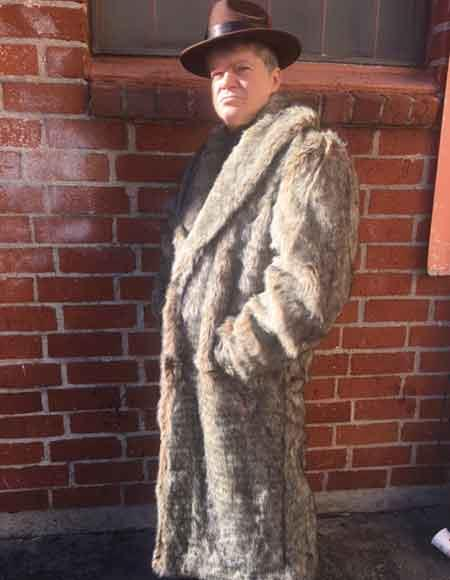 1920s Mens Coats & Jackets History Mens Full Long Length Overcoat Faux Fur Coat  Topcoat Coffee  Tan  Brown $300.00 AT vintagedancer.com