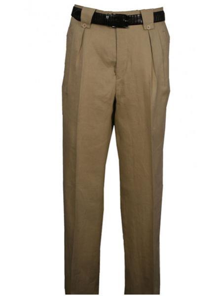 b08f47404bc7 Linen Wide Leg Pleated creased Pant Tan