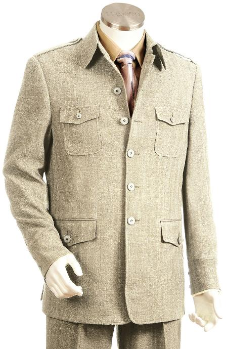 1970s Men's Suits History | Sport Coats & Tuxedos High Fashion Taupe Zoot Suit $190.00 AT vintagedancer.com