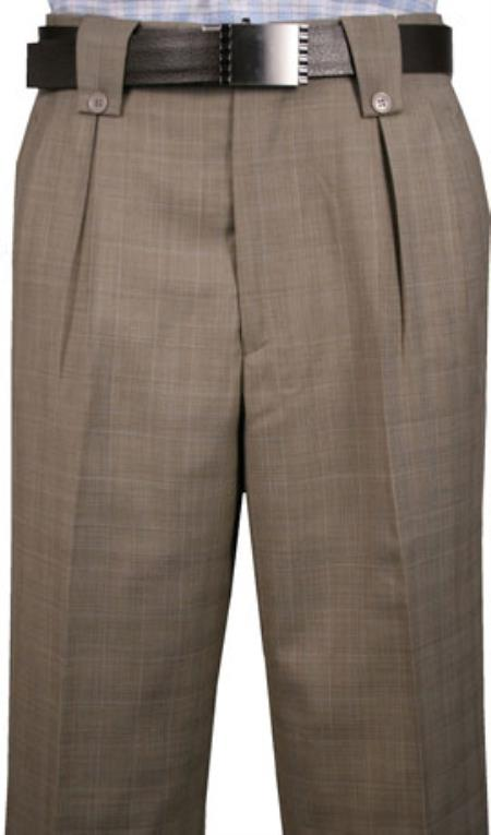 Classic Fit Pleated Front Knee 2 Back Pockets Wool fabric Dress Pants Taupe Plaid men's Wide Leg Trousers