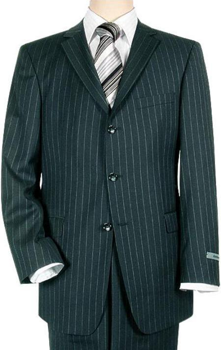 Men's Vintage Style Suits, Classic Suits navy blue colored Pinstripe Three buttons Superior fabric 140s Wool fabric Suit $200.00 AT vintagedancer.com