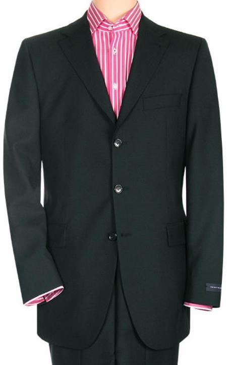 Mens Three Button Black Suit