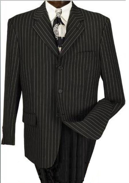 Mens Three Buttons Black Suit