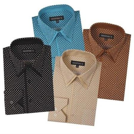 Dress Cheap Fashion Clearance Shirt Sale Online For Men Polka Dot Pattern Formal or trendy informal casual Multi-color