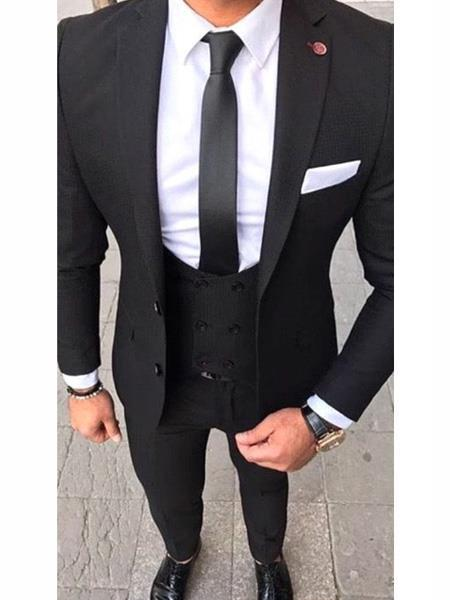 Inexpensive ~ Cheap ~ Discounted Clearance Sale Extra Slim Fit Prom black groom suits 2 Button  Black Wedding / Prom Suit black groom suits With Double Breasted Vest