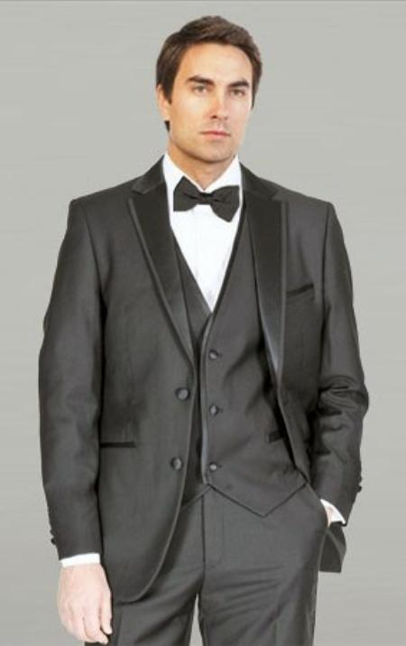 ID#YAN231 Dark color Black Wedding / Prom Framed Notch Collared with Vest Microfiber Fashion Tuxedo For Men
