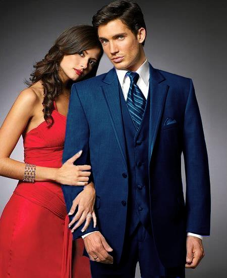Mens Two Button Blue Tuxedos