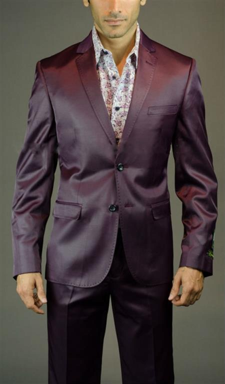 Mens Two Button Burgundy Suit