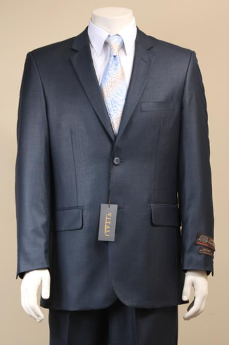 Mens Two Button Navy Suit