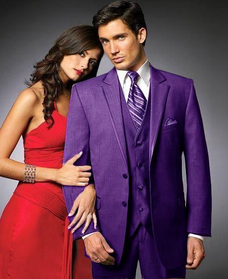 Purple Pastel Color Two Buttons Tuxedo Satin Trim Notch Coll