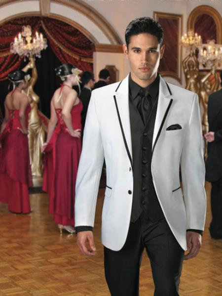 Jean Yves Two buttons White Savoy Tuxedo with Dark color bla