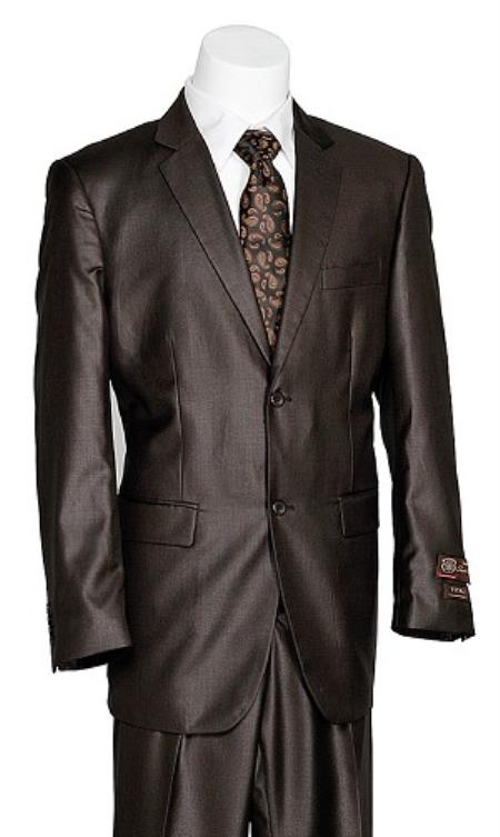 Vitali Two buttons Coco Chocolate brown Shark Skin Suit