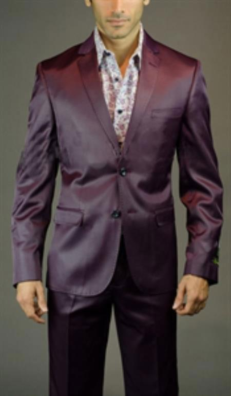 Mens Two Buttons Burgundy Suit