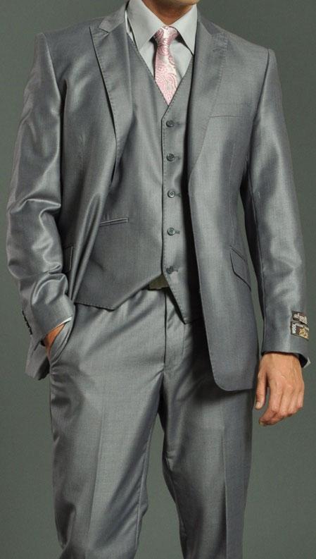 Metallic Light Grey Slim Fit Suit with Vest Tuxedo
