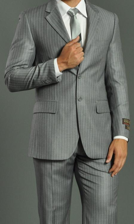 Three Button Light Grey Suit Regular Fit Pinstripe Suit