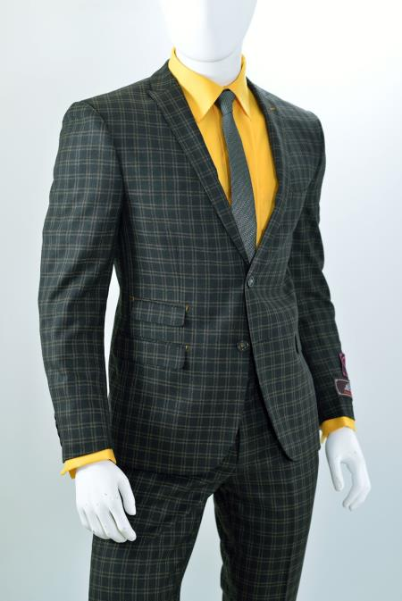 1960s Men's Fashion Suits Window Pane Plaid houndstooth pattern ticket pocket slim fitted Two buttons suit Taupe $137.00 AT vintagedancer.com