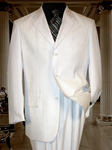 Mens wo Buttons White Suit
