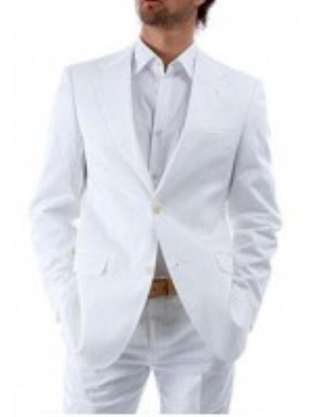 Two Button White Suit, Mens Double Vented Wool Suit