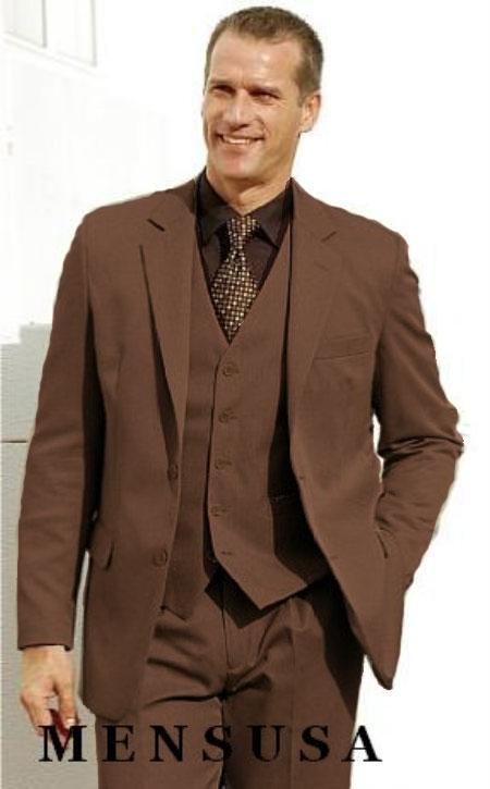 3 Piece pronounce visible Chalk Pinstripe Coco Chocolate brown Suit