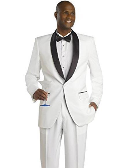 Men\'s White And Black Jacket Looking Lapel Suit & Pants Blaz