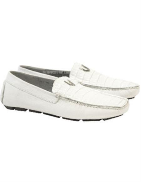 White Vestigium Genuine Caiman Belly Loafers