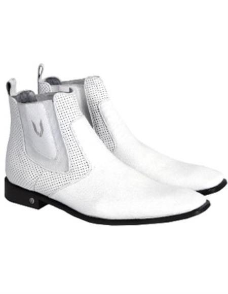 White Vestigium Genuine Catshark Chelsea Boots Handcrafted