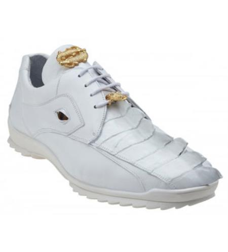 Men's Belvedere Genuine Hornback White Crocodile Sneaker