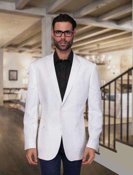 Summer Linen Light Weight Sportcoat Jacket White